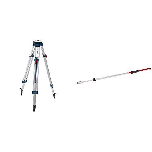 """Bosch Professional BT 160 - Trípode para nivel láser y óptico (160 cm, rosca 5/8"""", en caja) + Regla graduada para nivel láser y óptico (2,4 m, extraíble, en caja)"""