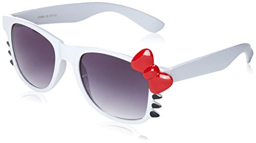 Cute Ladies Retro Fashion Kitty Bow Sunglasses w/Bow and Whiskers (White Red-Bow)