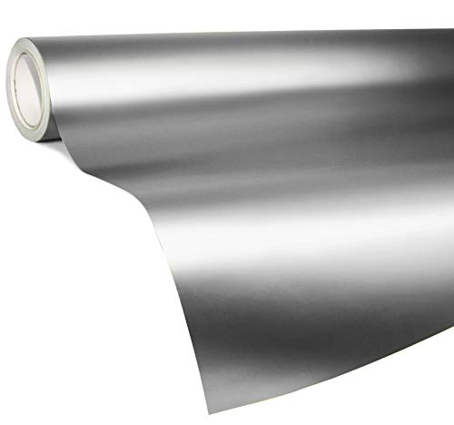 VViViD Architectural Adhesive Metallic Satin Finish Vinyl 24 Inch x 60 Inch Roll (Satin Chrome Stainless Steel)