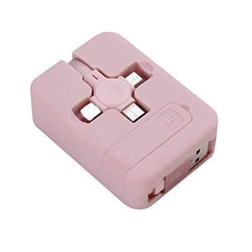 Cargador de soporte para teléfono con cable de datos, cable multi USB de carga rápida, cable de carga micro USB tipo C retráctil 4 en 1 para iPhone Android (Rosa)