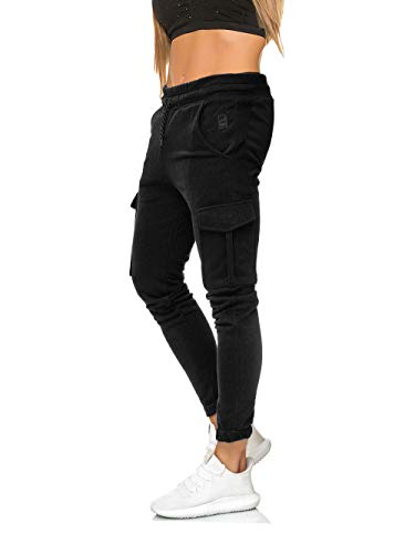 MATKA Damen Frauen just only Jogging Chill Hose zuhuase Jogger Jeans Streetwear Sporthose Modell 1213 Schwarz S