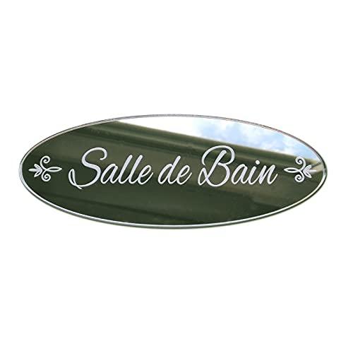 Plaque de Porte Salle de Bain en Plexi Miroir Autocollant - Plaque Miroir Adhésive - Dimensions 16 x 6 cm - Décoration pour Porte - Pastilles Doubleface au Dos