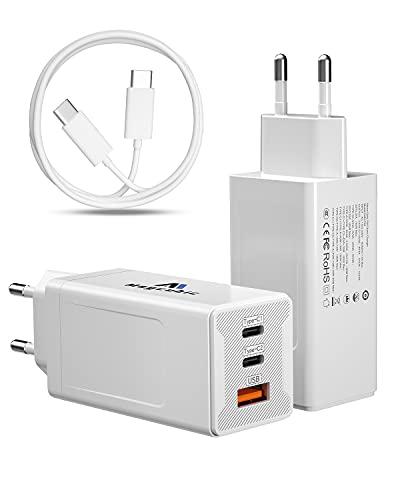 Magcubic Cargador USB C 65W Cargador USB Tipo C Carga Rapida 3 Puertos con USB-C Cable de 1,5m Soporta PD3.0 y QC4.0/3.0, para iPhone 12, SE, MacBook, Airpods Pro, Pixel, Galaxy S10 (2 Pack)
