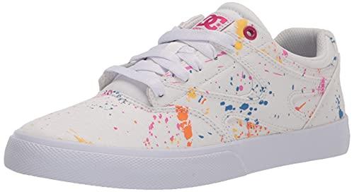 DC Women's Kalis Vulc Skate Shoe, White/Splatter, 11