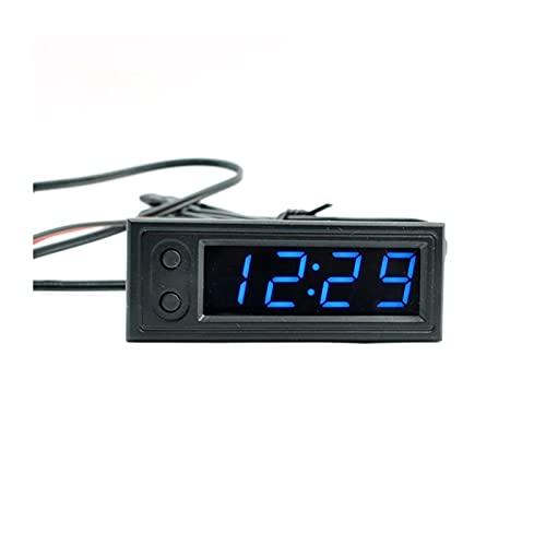 FENGFENG Sun Can Reloj Multifuncional de Alta precisión Interior y Exterior Temperatura de automóvil Monitor de Voltaje de batería Meter DC 5-28V Reloj (Color : BU)