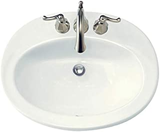 American Standard 0478403.020 Piazza Drop-In Bathroom Sink with 3 Faucet Holes (4 Centers), White