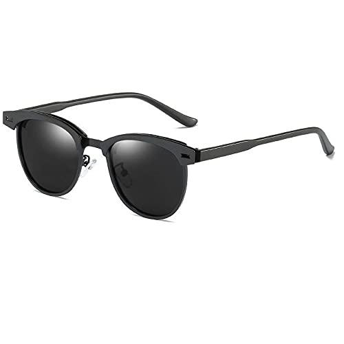 XJW Gafas de sol polarizadas para hombres y mujeres Retro UV400 Gafas de sol de conducción 2021/5/25 (color negro)
