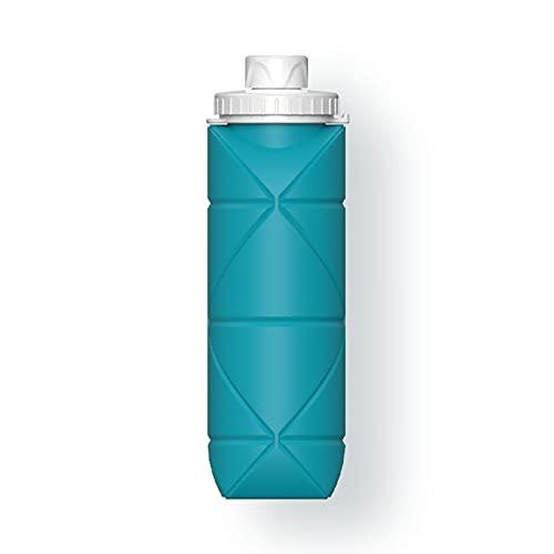 GRASARY Botella De Agua Plegable De 600 Ml, Taza De Agua De Silicona Plegable, Taza De Bolsillo, Taza De Café Telescópica para Viajar Verde Azulado