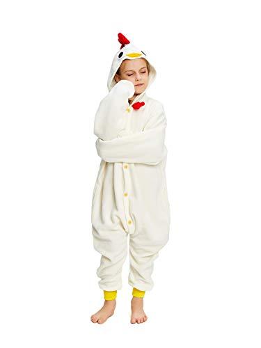 NEWCOSPLAY Unisex Children Chicken Pajamas Halloween Costume (6) White