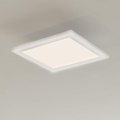 Briloner Leuchten LED Deckenleuchte-Panel mit Bewegungssensor, ultraflach, Deckenlampe 12W, 1.300 Lumen, Tageslicht Sensor, quadratisch, weiß, Kunststoff, 12 W, 29,5 x 29.5 cm (LxB)
