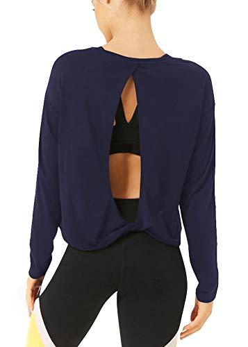 Bestisun Womens Workout Tops Long Sleeve Workout Clothes Sport Running Shirt for Women Navy Blue XL