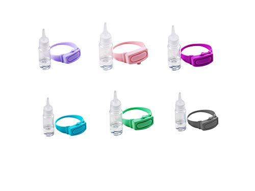 LifeBest Dispenser per Bracciale disinfettante per Mani in Silicone 6 Pezzi Dispenser con adesivi natalizi per Sapone Liquido da Polso indossabile Contenitori da Viaggio per liquidi per Adulti Bambini