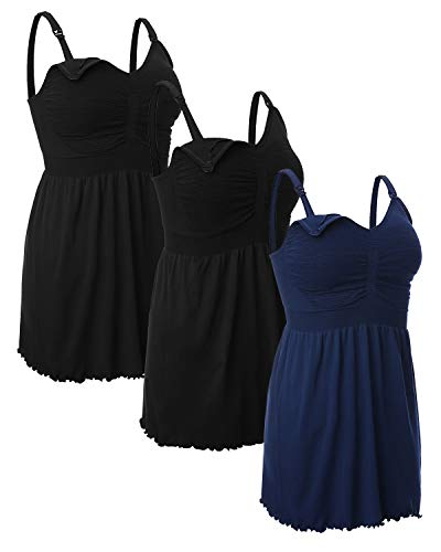 iloveSIA Women's Maternity Nursing Tank Tops Breastfeeding Pajamas with Built in Bra Cami Shirt 3 Pack Black+Black+Blue Size L