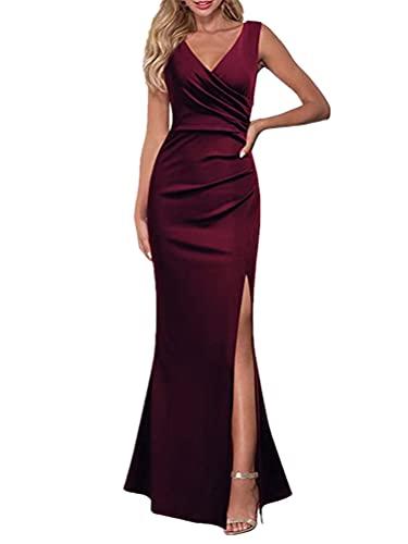ORANDESIGNE Vestiti da Donna della Sera e Cerimonia Linea A Scollo a V Senza Maniche Abito da Damigella Lunga Vestito da Cocktail con Spacco Elegante Abito da Sera a Fessura A Vino Rosso XS