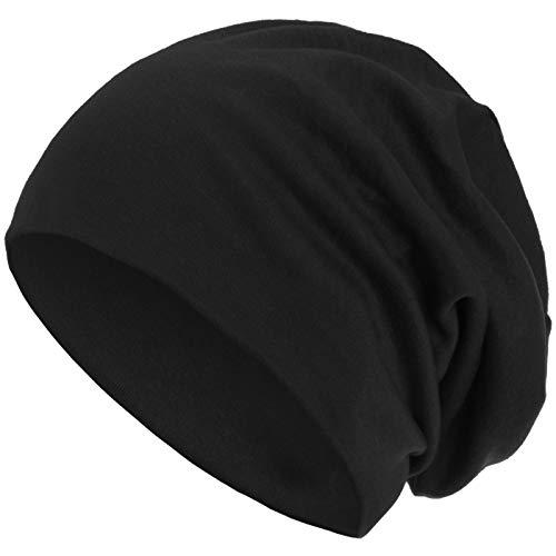 style3 Warme Herbst Winter Slouch Beanie XXL aus atmungsaktivem, feinem und leichten Jersey Unisex Mütze Wintermütze One Size, Farbe:Schwarz