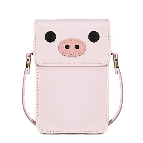 Image of the Women Small Crossbody Bag - Cell Phone Purse Smartphone Wallet Cute Animal Bags (Pink-Pig)