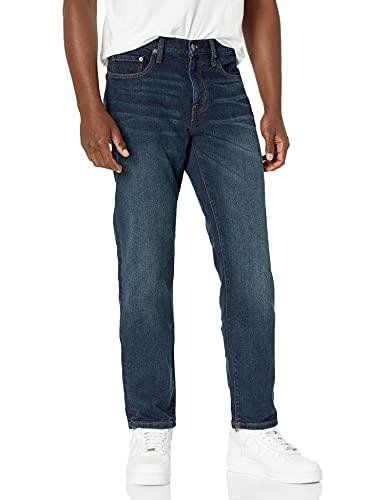 Amazon Essentials Men's Straight-Fit Stretch Jean, Dark Wash, 34W x 32L
