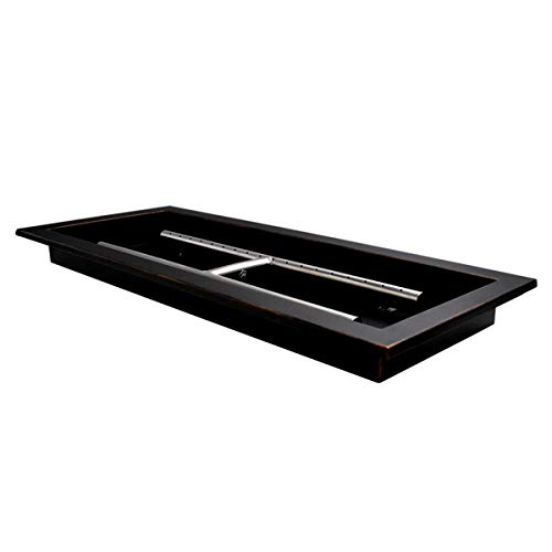 Skyflame 24' x 8' Rectangular Drop-in Fire Pit Pan and Burner, Oil Rubbed Bronze