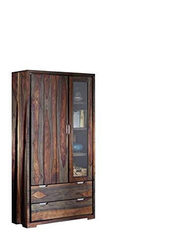 MASSIVMOEBEL24.DE Palisander Massivholz geölt Vitrine Sheesham Holz Möbel massiv Pure Sheesham Strong Grey #879