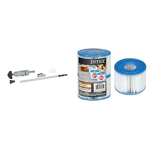 Intex 28620 Aspiradora Manual con Eje De Aluminio Telescópico + 55000 Pack De 2 Cartuchos SPA Tipo S1, Altura De 7.5 Cm Y Diámetros De 10.8/4 Cm