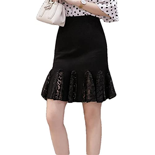 ERTYUIO Short Skirt Set Women Short Skirt Casual Lace Solid Black Skirts-A_XL