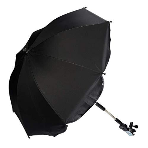 Kinderwagen Regenschirm Universal Sonnenschirm Sonnenschutz für Kinderwagen & Buggy UV Schutz 50+ Babywagen Schirm mit Universal Halterung mit 360° flexiblen Schwanenhals (Schwarz)