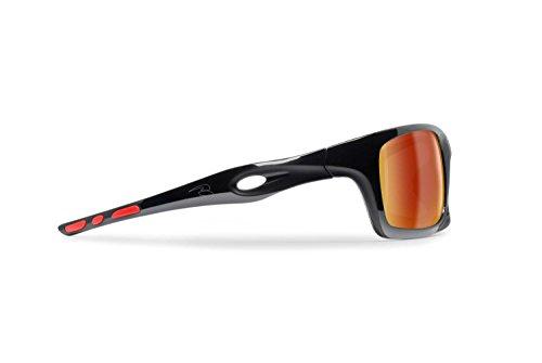 BERTONI Gafas Deportivas Fotocromaticas de Ciclismo Moto Running Esquí Pesca Envolventes a Prueba de Viento Mod. Omega Italy (Negro Brillante/Rojo - Espejo Dorado)