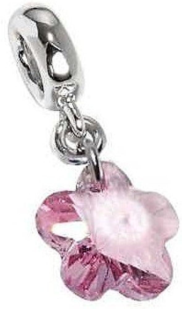 Boccadamo ,charm,ciondolo per donna,in acciaio rodiato con cristallo swarovski light rose a forma di fiore Xps076