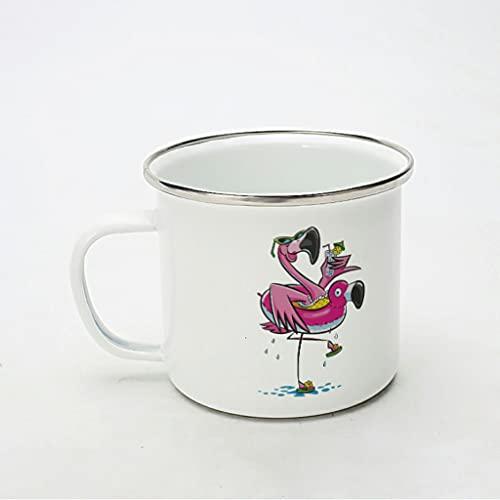 KittyliNO5 Taza esmaltada con diseño de flamencos, para camping, reutilizable y portátil, ideal para el hogar, la oficina, viajes o camping, color blanco, 350 ml
