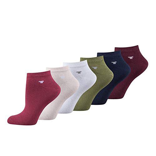 TOM TAILOR Damen Sneaker 6er Pack uni basic mix, Size:35-38, Farben:berry