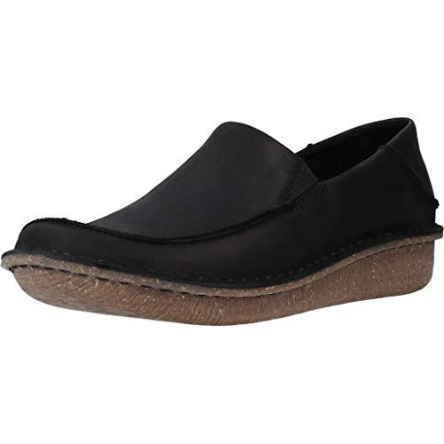 Clarks Damen Funny Go Slipper, Schwarz (Black Leather Black Leather), 42 EU