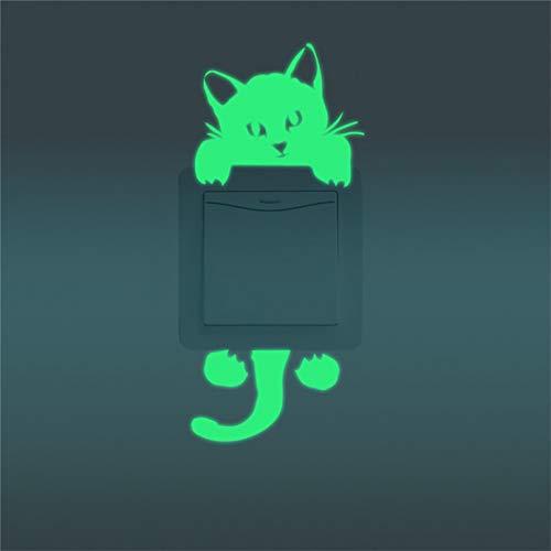 Pegatinas luminosas para interruptor de dibujos animados, pegatinas luminosas para gatos, pegatinas de pared para habitación de niños, decoración del hogar