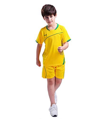 Coralup Pantalones cortos deportivos para niños de fútbol y baloncesto uniformes de entrenamiento de playeras de verano de playa de manga corta conjunto de 4 colores de 4 a 13 años