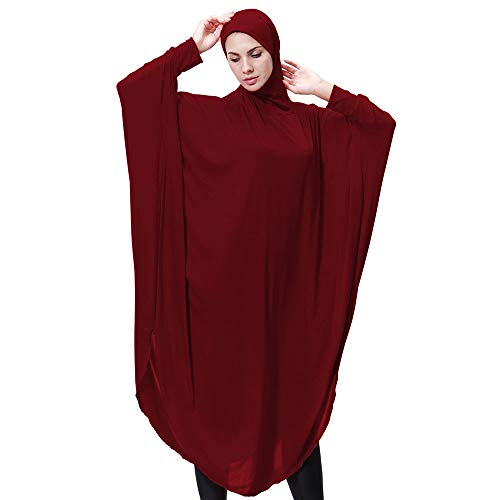 Lazzboy Muslim Daily Feste Langarm Lange Vintage Kleider Khimar Mit Niqab Option - Langer Hijab...