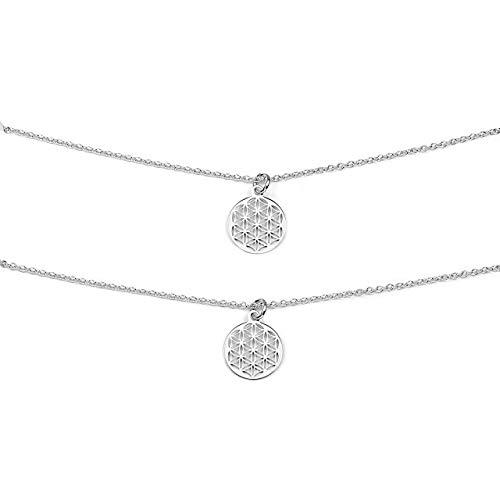 Lebensblume Halsketten Set Mutter Tochter Geschenk 925 Silber