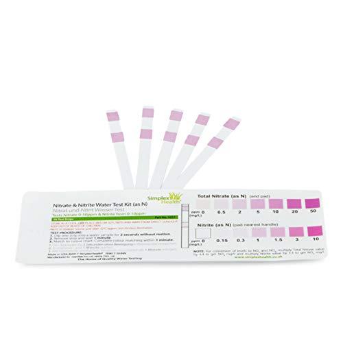 SimplexHealth Wasserteststreifen für Nitrate und Nitrite, 5 Teststreifen