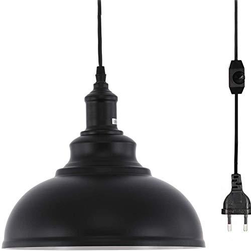 Industrie Pendelleuchte mit Dimmbar Schalter und 4.5m Kabel, Vintage Metall Hängelampe mit EU Stecker Schwarz Hängeleuchter E27 für Kücheninsel, Esszimmer, Schlafzimmer Ø30cm