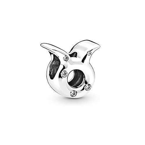 Annmors Abalorios Taurus Colgante Charms de 12 Constelaciones,925 Sterling Silber Bead con Circonita Cúbica Compatible con Europeo Pulseras Collar,Charms de Festival Cumpleaños Para Mujer Niña