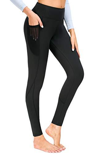 New Minc Damen Sporthose Sport Leggings Tights mit Taschen Blickdichte Trainingshose Yogahose Sportleggins für Fitness Sport Freizeit - Schwarz/XS(DE34-36)