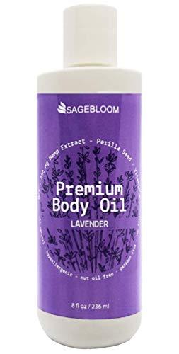 Lavender Premium Body Oil   Soothing Body Oil   After-Wax Body Oil   Hemp Oil 200 mg, Perilla Seed, MCT Coconut, Vitamin E