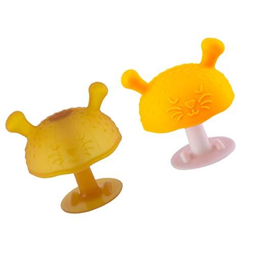 EXCEART 2Pcs Cogumelo Silicne Criança Chupeta Do Bebê Mordedor Brinquedo de Morder Os Dentes Moagem Suave Chupeta Mordedor Molar de Sucção Do Bebê Amarelo
