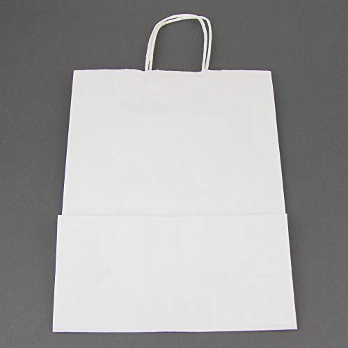 Heavy Duty White Paper Bags with Handles 13 x 10 x 5 12 LB Twisted Rope Retail Shopping Gift Durable Bleached Barrel Sack 50 Pack