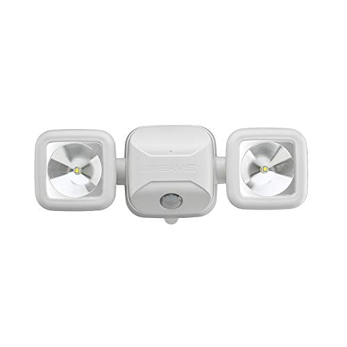 Mr. Beams MB3000 High Performance Wireless Battery Powered Motion Sensing LED Dual Head Security Spotlight, 500 Lumens, White, 1-Pack