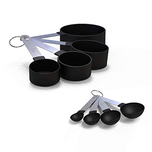 Soltam 8 Piece Measuring Cups and Spoons Set with Long Stainless Steel Handles & Nylon Base, BPA-Free Kitchen Cookware for Dry & Wet Ingredients, Essential Cooking & Baking Tools, Best Home Gift Idea