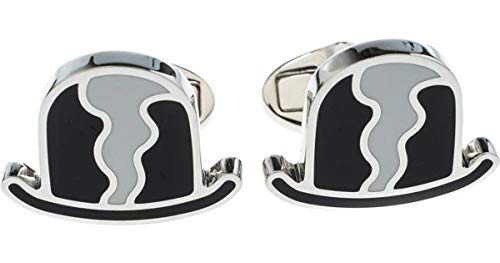 BURBERRY Men's Black Bowler Hat & White Enamel Silver Tone Cufflinks with Gift Box