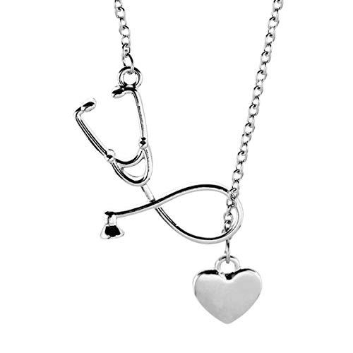 Amosfun Doctor Enfermera Estetoscopio Corazón Collar Pareja Charm Collar Joyas Regalos de San Valentín (Plata)