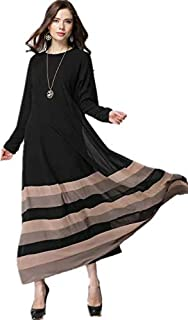 Muslim Fashion Striped A Line Maxi Dress for Women - Size L