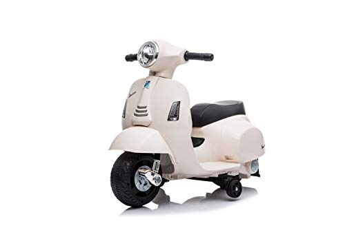 Babycar Moto Elettrica per Bambini Piaggio Mini Vespa ( Bianco ) 6 volt con luci e suoni ufficiale con licenza