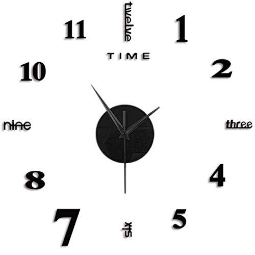 MOMOJIJI Reloj de Pared 3D DIY Moda Reloj de Etiqueta de Pared Decoración,Reloj de Pared Adhesivos 100 cm,Reloj de Pared Digital,Sin Marco,Tamaño Grande,Deal para Bar, Club, Oficina o Salón (Negro)