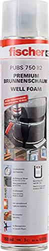 fischer Premium Brunnenschaum Well Foam PUBS 750, wasserfester Pistolenschaum, Montageschaum zum Verfüllen & Dämmen, Bauschaum für Schaumpistolen, 750 ml